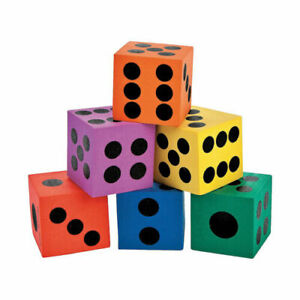 """12 Assorted Colors Foam Dice 1.5""""  New ~ 2 of each color"""
