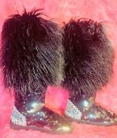 New Sequin Faux Fur Lined Boots  Women's Knee Winter Boots Size LARGE 9-10 VIDEO