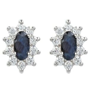 Avon Sterling Silver Earrings Sapphire Cubic Zirconia Brand New in Box
