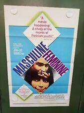 """1966 MASCULINE-FEMININE One Sheet Poster 27x41"""" Jean-Pierre Leaud GODARD DRAMA"""