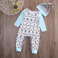 Newborn Baby Boys Girls Bodysuit Romper Jumpsuit Hat Outfit Arrows Print Clothes
