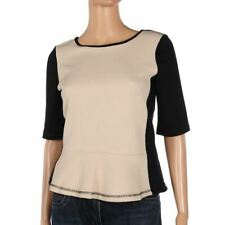 Vero Moda Top Cream & Black Textured Short Sleeve Size Large Be 240