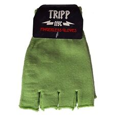 Tripp NYC Green Fingerless Gloves 80s 90s 2000s Goth Gothic Emo Punk Glam Rock