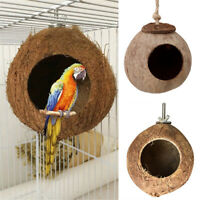 For Pet Parrot Budgie Conure Coconut Shell Bird House Hut Cage Feeder Toys