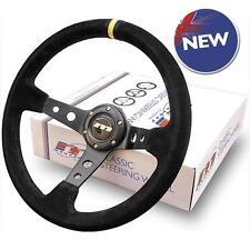 Mountney 340mm 3 Spoke deep dish Black alcantara rally drift steering wheel