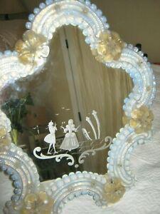 Venetian Art Glass Mirror Italian 1950's