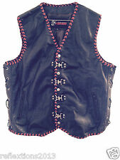 Mens Leather Vest Crocodile Plated Motorcycle Biker Rider Waistcoat Hand Braided