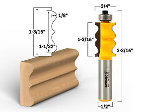 """1-3/16"""" Picture Frame Molding Router Bit - 1/2"""" Shank - Yonico 16117"""