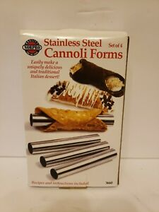 "Norpro 5.75"" Stainless Steel Cannoli Form 4 Pack Set - Pastry Mascarpone Tubes"