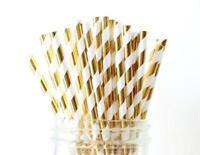 20 Wedding  WHITE & GOLD  stripe paper straws