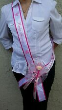 1Baby Shower MOM TO BE SASH,Pink/Girl, Ribbon favor,Handmade, Party,MommyCorsage