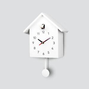 Cuckoo Wall Clock Modern Bird House Hanging Watch Home School Office White