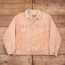 "Mens Vintage Levis Red Tab Beige Corduroy Sherpa Trucker Jacket 2XL 50"" R11185"