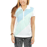 Women's PUMA Golf Bias Striped Polo Shirt White size XS (T37) $65