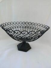 Vintage Black Cast Metal Iron Fruit Basket Veggie Bowl Garden Planter Pedestal