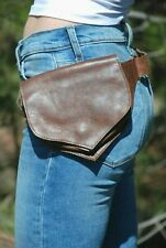 Brown Leather Fanny Pack, Women Waist Pack, Men Belt Bag, Leather Hip Bag