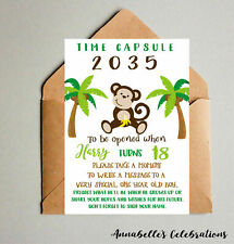 First Birthday Monkey Jungle Keepsake Time Capsule & Cards for Guests Forest 1st