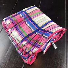 "Talbots Pink Multi-Color Plaid Crinkle Pleated Cotton Scarf Sash Wrap 80x35"""