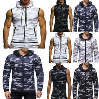 Men Casual Camouflage Hooded Sleeveless Long Sleeve T-shirt Top Vest Blouse Coat