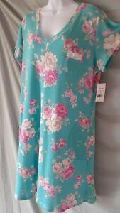 "Miss Elaine Green Nightgown Floral Calf Cap Sleeve  1X  52"" BUST"
