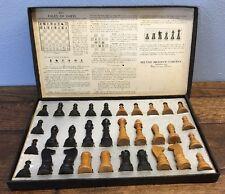 Vtg Milton Bradley Chess Men Wood Pieces Set 4715 Good Box Made In USA