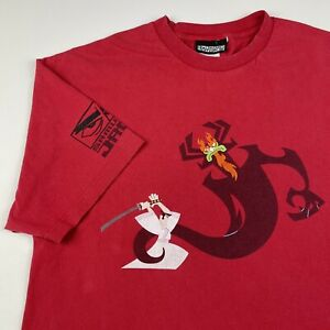 Vintage 2001 Cartoon Network Samurai Jack Red T-shirt XL Aku Puff Print Rare