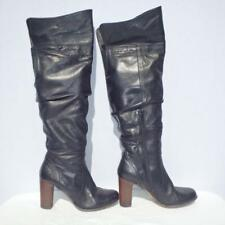 Bronx Leather Boots Size UK 7 Eur 40 Womens Ladies Black Pirate Pull on Boots