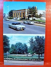 Postcard TX Eastland Texas Dual View Old Cars Post Office US Flag in Flowers