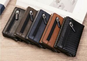 RFID Anti Theft Pop Up Carbon Fiber Card Holder Wallet Aluminum Zipper Card Case