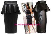 New Ladies/Women PVC Wetlook Frill Peplum Bodycon Pencil Midi Skirt