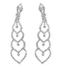 Queen Design Bridal Diamante Shiny Long Drop Dangle Earrings for Weddings E568
