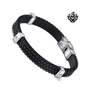 Silver bracelet black rubber cubic zirconia stainless steel High Polished 21cm