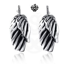 Silver stud stainless steel angel wings feather earrings soft Gothic unisex New