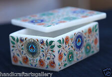 """4""""x3""""x2"""" White Jewelry Box Plans Semi Mosaic Inlay Marquetry Gifts Decor H1955"""
