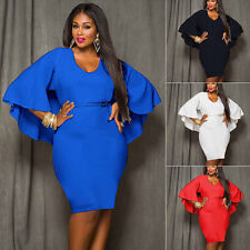 Women Plus Size Bodycon Batwing Mini Evening Party Cocktail Formal Cape Dress