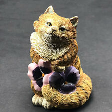 VALERIE PFEIFFER DESIGN CAT FIGURINE resin sculpture Canada kitten flower pink