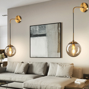 Industrial Vintage Loft Drop Wall Lamp Sconce Light with 15cm Glass Ball Shade