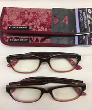 foster grant Women's Reading Glasses 1.25 new Case 2 prs New scratch resistant
