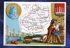 CHROMO ville de Paris CARTE MAP le LOT FENELON TRUFFE VIN BLASON Truffle Wine