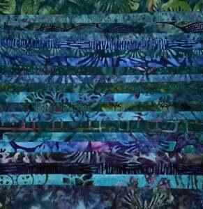 LUNN FABRICS BATIKS STASH BUILDER 20 FAT QUARTERS #001 BLUE GREEN PURPLE BATIK