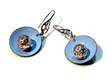 Bijou boucles d'oreilles émaillées crochet  et perle filigrane en  argent 925