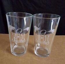 2 NICE ETCHED PINT BEER GLASSES, SUPER BOWL LI (51) , PATRIOTS - FALCONS