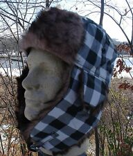 White Black Plaid Fur Trapper Hat Bomber Winter Cap Aviator Trooper Adjustable