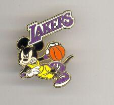 NBA Disney LA Los Angeles Lakers Mickey Mouse Playing Basketball Pin & Card