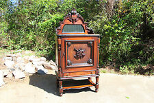 Magnificent Large Walnut Victorian Music Credenza Cabinet w Mirrored Gallery Top