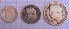 3 monnaies argent Napoléon III - 1 Franc - 50 centimes - 20 centimes