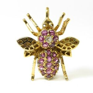 NYJEWEL 925 Silver Gold Plated 1ct Natural Ruby Bee Pin Brooch 27x22mm