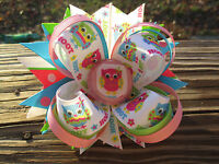 Hairbow Boutique style Pink, green and blue Owls Hairbow Bottle cap center