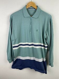 Vintage Playboy Mens Jumper Size XL / 52 1/4 Zip Embroidered Blue Pullover