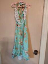 Girls Size 8-9 Green Floral Halter Dress